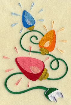 Retro Christmas Light Strand Embroidered by EmbroideryEverywhere