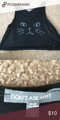 American Eagle Cat Crop Top American eagle don't ask why black kitty crop top. It's say one size fits all but I'm a small/medium and it fits perfectly. Took the tags off but I actually never wore it. American Eagle Outfitters Tops Crop Tops