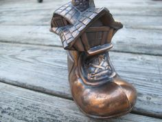 Copper coloured shoe house piggy bank / Little by CreeksideCharms, $14.75