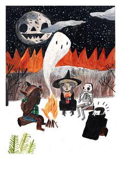 NEW// Spooky Stories Print Halloween Illustration, Watercolor Illustration, Halloween Tags, Holidays Halloween, Scary Halloween, Halloween Mural, Vintage Halloween Cards, Halloween 2019, Happy Halloween