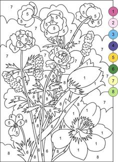 Color By Numbers Flowers Coloring Pages - Coloring Ideas Colouring Pics, Flower Coloring Pages, Coloring Book Pages, Printable Coloring Pages, Coloring Pages For Kids, Adult Color By Number, Color By Number Printable, Color By Numbers, Paint By Numbers