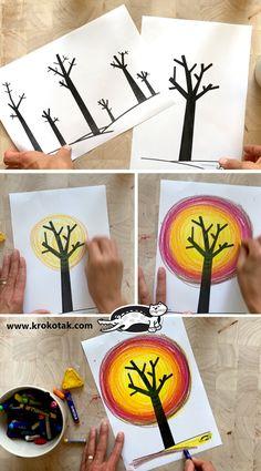 Fall Art Projects, Classroom Art Projects, School Art Projects, Art Classroom, Autumn Crafts, Halloween Crafts For Kids, Autumn Art, Art Activities, Children Activities