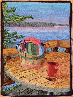 Rainy Lake Basket designed and hooked by Debbie Ballard