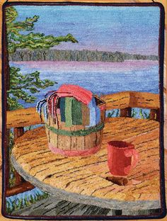 Rainy Lake Basket Rug Hooking Magazine March April May 2015