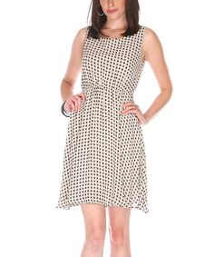 Love this Cream Houndstooth Sleeveless Dress by Fuchhi Style on #zulily! #zulilyfinds