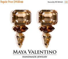 Octagon Rhinestone stud earrings classic jewelry by MayaValentino