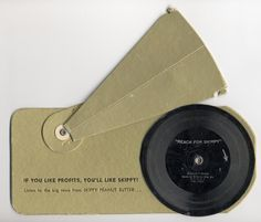 TALKING CARD. This unit required the use of a pencil to provide the spin and a small cardboard horn with which an elastic band helped keep its shape. This provided the amplification through the needle that was attached to it and rode in the groove as the pencil (and hand) of the operator provided the spin.