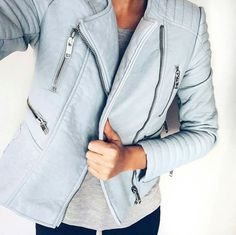 Spice your outfit up with a coloured leather jacket
