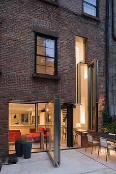 "archatlas: "" Operable Boundary Townhouse/Garden in BrooklynIn the words of the Dean/Wolf Architects: Operable Boundary Townhouse/Garden creates a new field of openness excavated out of the lower level. Architecture Details, Interior Architecture, Exterior Design, Interior And Exterior, Room Interior, Townhouse Garden, House Extensions, Residential Architecture, Building Design"