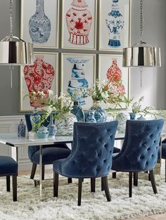 A dining room decor to make your guests feel envy! Grab the best dining room decor ideas to make your dining room design be the best when it comes to modern dining rooms designs. A best of when it comes to interior design ideas. Tufted Dining Chairs, Dining Room Walls, Dining Room Lighting, Dining Room Design, Dining Room Furniture, Living Room Decor, Blue Dining Room Chairs, Space Furniture, Furniture Design