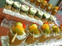 Fresh veggies & cold soup on mini glasses