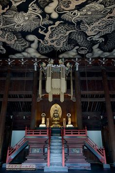 Balance, Harmony & 2 smoky dragons checkin' it all out from above - Kennin-ji temple, Kyoto, Japan