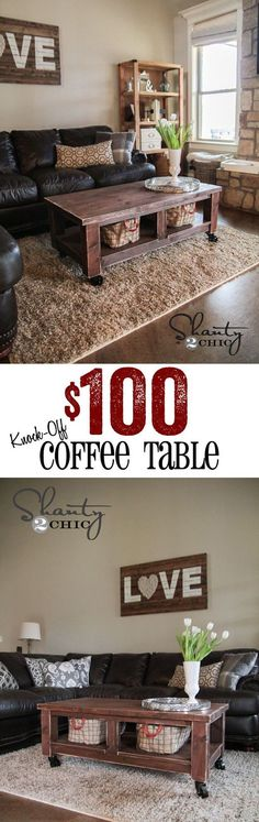 LOVE this DIY Pottery Barn Knock-off coffee table! Cheap too! coffee table once we get the sectional! Furniture Projects, Home Projects, Diy Furniture, Modular Furniture, Wicker Furniture, Diy Coffee Table, Diy Table, Coffee Table Wheels, Wood Table