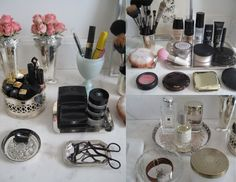 cute way to display makeup Small Space Organization, Makeup Organization, Vanity Set Up, Vanity Fair, Makeup Display, Dressing Area, Dressing Tables, Dressing Rooms, Make Up Storage
