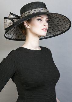 Rachel Trevor Morgan Millinery SS 2016 | R1662 - Fine black straw 'Tiffany' hat with spot underbrim and bow