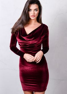 Full Sleeve Cowl Neck Velvet Bodycon Dress Burgundy Red