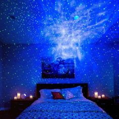 BlissLights Sky Lite - Laser Projector w/LED Nebula Cloud for Game Rooms, Home Theatre, or Night Light Ambiance - Classic (Green/Blue) Dream Rooms, Dream Bedroom, Master Bedroom, Modern Bedroom, Outer Space Bedroom, Bedroom Furniture, Bedroom Decor, My New Room, Night Yoga