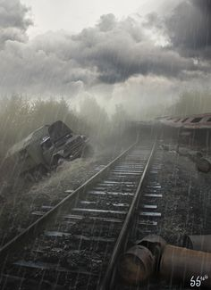 ((Closed RP: Clara)) I trudge on ahead, following the train tracks, my gun at the ready. I was scouting the route ahead while my small group followed behind. I cleared the path and they followed. I also eliminated threats if any were present. I had my military grade rifle at the ready, trying to listen through the rain.