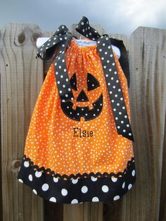 infant/toddler girls halloween pillowcase dress. $30.00, via Etsy.