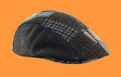 Modelo 30262, Gorra campera parcheada, combinada con piel negra.