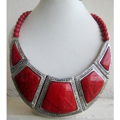 Bib Necklace/Red Necklace/Statement Necklace/Chunky Necklace/Beaded Necklace/Beaded Jewelry on Etsy, $28.10