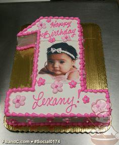 Number 1 Cutout Photo Birthday Cake