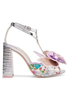 12a75a931a64 Sophia Webster - Lana Embellished Pvc And Metallic Leather Sandals - Silver