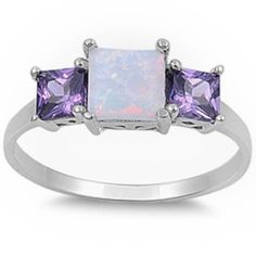 NEW BEAUTIFUL PRINCESS CUT WHITE AUSTRALIAN OPAL & AMETHYST .925 Sterling Silver Ring Sizes 5-10, http://www.amazon.com/dp/B00DET6OIG/ref=cm_sw_r_pi_awd_9u6Esb0JKK6AW