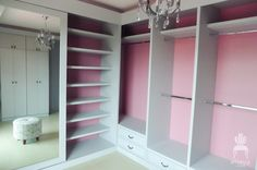 Love the pink inner walls in closet