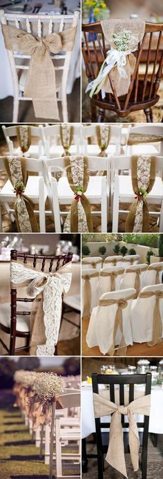 Kburlap Weddiong Chair decor ideas for rustic and vintage weddings. - wedding ideas - Kburlap Weddiong Chair decor ideas for rustic and vintage weddings. Wedding Chairs, Wedding Table, Wedding Reception, Chair Decorations For Wedding, Vintage Decoration Wedding, Reception Ideas, Wedding Chair Covers, Vintage Party Decorations, Wedding Chair Sashes