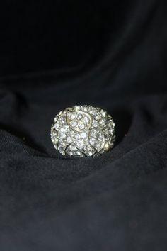 $30  Asymmetrical Tears Crystal Clear Rhinestones Ring