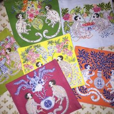 """Set of 6 monkey design cocktail napkins $50, chinoiserie monkeys, chinoiserie tablescapes, linens, chinoiserie art, gifts,  Chinoiserie cocktail napkins products, gifts, Mixed Monkey Designs Cotton/Linen Hand wash, dry flat 6"""" x 6"""""""