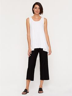 Scoop Neck Long Boxy Tank in Lightweight Viscose Jersey