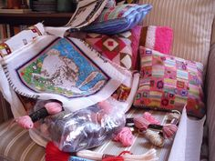 Crafty clutter, meaning my sitting room's never entirely tidy!