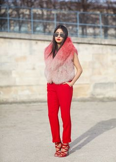 Double - red - streetstyle -Paris Fashion Week - Chic Muse