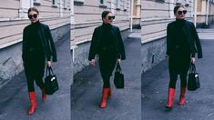 Autumnal lookbook. Red boots, leather jacket, knitted dress, Ted Baker bag.