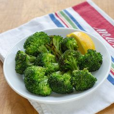 Simple garlic roasted broccoli with lemon is a great quick and easy side dish. #paleo #glutenfree
