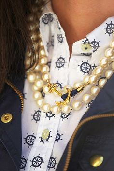 The pearls with the anchor keep this necklace a stylish choice for the shirt and jacket. Pearls are making a comeback!