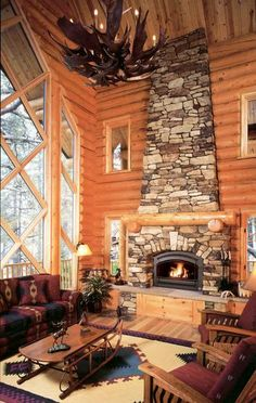 Eldorado Stone - Inspiration for Stone Veneer Fireplaces, Stone Facades, Stone Interiors and Inspired Homes, House Design, House, Log Home Living, Home, Log Cabin Living, Fireplace, Stone Fireplace, Rustic House