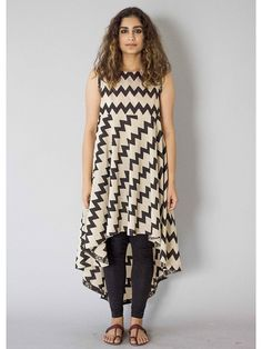 Black-White Achromatic Asymmetrical Cotton Tunic
