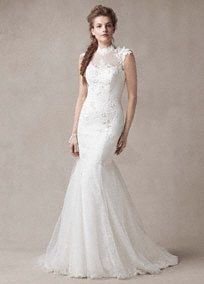 d63e75f98ab6 NEW! Chantilly Lace Gown with Tulle High Neck Detail Style MS251092 Melissa  Sweet In Stores