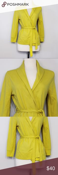 """J. Crew Yellow Antique Fleece Cardigan Bust: 19"""" (laying flat) Length: 24"""" (shoulder to hem) Sleeve Length: 21"""" (shoulder to hem)  A super comfy, lightweight cardigan in a vibrant yellow, perfect for spring! Open styling with adjustable / removable waist tie. 86% Cotton, 14% Polyester. No holes or stains. Comes from a smoke free environment.  👌🏻Offers welcome through offer button 📦Bundles welcome ❌NO trades, please. ⚡️Same/Next day shipping J. Crew Sweaters Cardigans"""