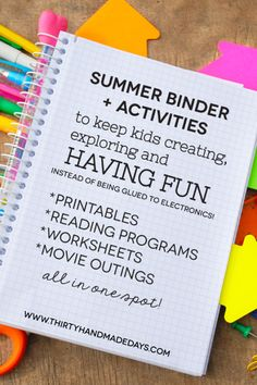 Printable Summer Binder- create a binder full of fun for your kids this summer! Printables for each section included. Plus activity sheets.