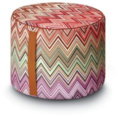 Missoni Home Oketo Pouf - 156 (€370) ❤ liked on Polyvore featuring home, furniture, ottomans, multi, missoni home, patterned ottoman and chevron furniture