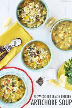 healthy slow cooker meals, slow cooker lemon chicken artichoke soup