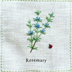 206.07.27 wed + Rosemary「ローズマリー」 + 比較的刺しやすいステッチだけで完成。 アウトラインステッチ、バックステッチ、ストレートステッチ、レゼーデージーステッチ。 + てんとう虫がかわいい♪ + #刺繍 #青木和子 #ホビーラホビーレ #庭図鑑のモチーフクロス