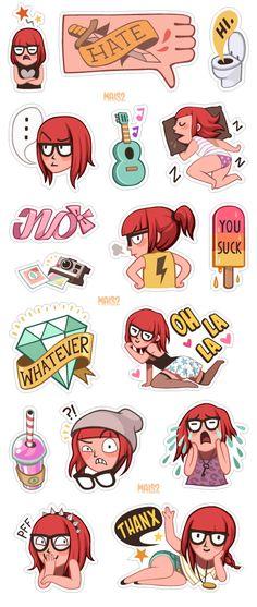 VIBER sticker set 1, Zoe by Alessandra MAiS2 Criseo, via Behance