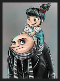 Despicable me Gru & Agnes Agnes Despicable Me, Minion Movie, Minions Despicable Me, Disney Concept Art, Disney Fan Art, Minions Friends, Cartoon Movies, Cool Cartoons, Despicable Me