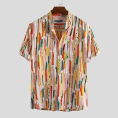 Mens Printed Shirts, Loose Shirts, Half Sleeve Shirts, Half Sleeves, Best Dress For Men, Knee Cut Jeans, Denim Jacket With Fur, Tropical Fashion, Moda Casual