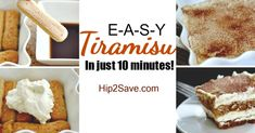 Whip up this Easy 10 Minute Tiramisu No-Bake Dessert! I used 24 lady fingers (soak in coffee 3 seconds), the mascarpone substitute, Kahlua in place of brandy Easy No Bake Desserts, Delicious Desserts, Yummy Food, Desserts Diy, Holiday Desserts, Healthy Desserts, Yummy Treats, Poulet Caprese, Easy Tiramisu Recipe